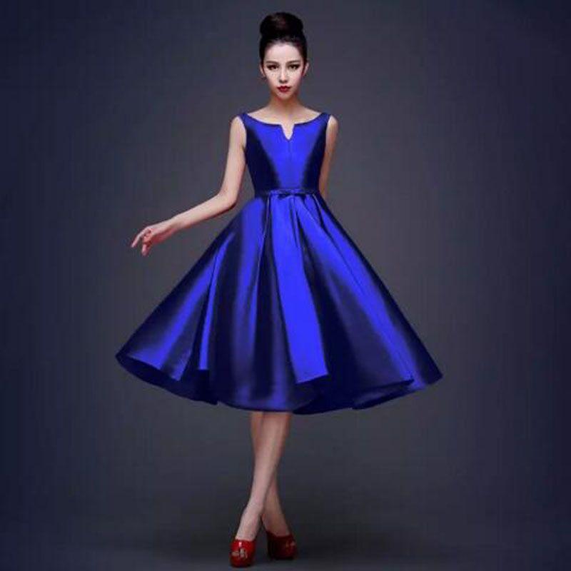 Compre Nueva Alta Calidad Simple Azul Real Negro Rojo Vestidos De ...