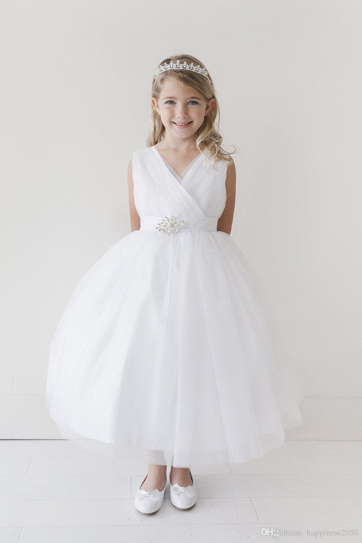 Abiti bella Ivory White Wine Tulle scollo a V Tea-Lunghezza Abiti Flower Girl principessa Pageant abiti da ragazza di partito su ordine 2-14 F526100
