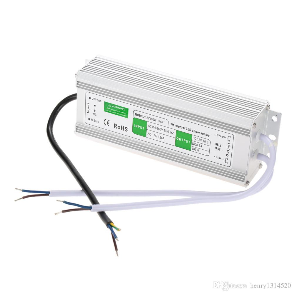Ücretsiz Kargo LED Sürücü Trafosu Güç Kaynağı Adaptörü AC110-260 V DC12V / 24 V 100 W Su Geçirmez Elektronik Açık IP67 LED Şerit Lambası