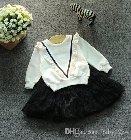 Livraison gratuite - 2017 automne nouveaux vêtements pour enfants édition Han de la toison polaire V filles agaric edge rendent T-shirt à manches longues supérieur g
