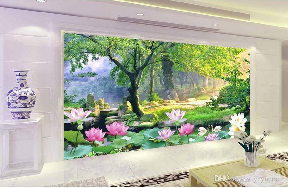 3D стереоскопический персонализированные обои для гостиной Лотос 3D росписи обои для стен