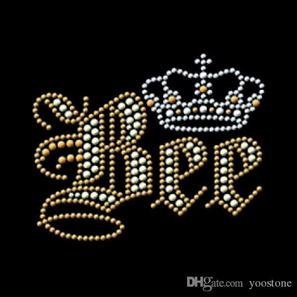 New Trend Crown Bee Rhinestone Iron On Transfers Hot Fix Motif For