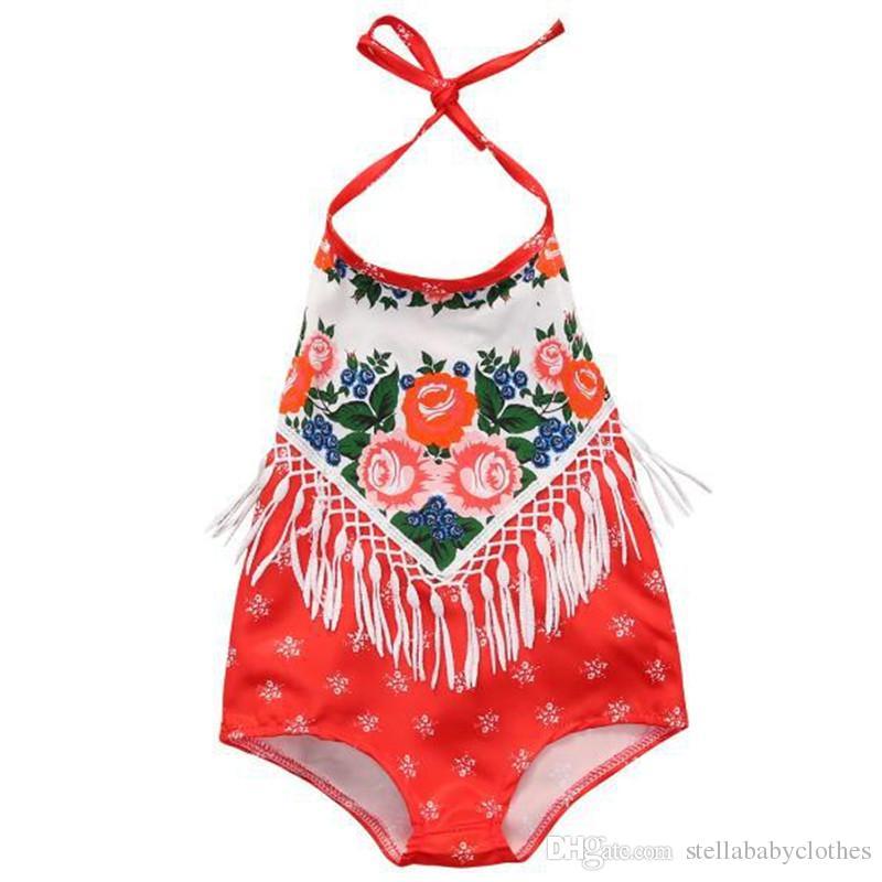51e76c74f 2017 Summer Floral VintageTassle Baby Girls Bodysuit Outfit Beach ...