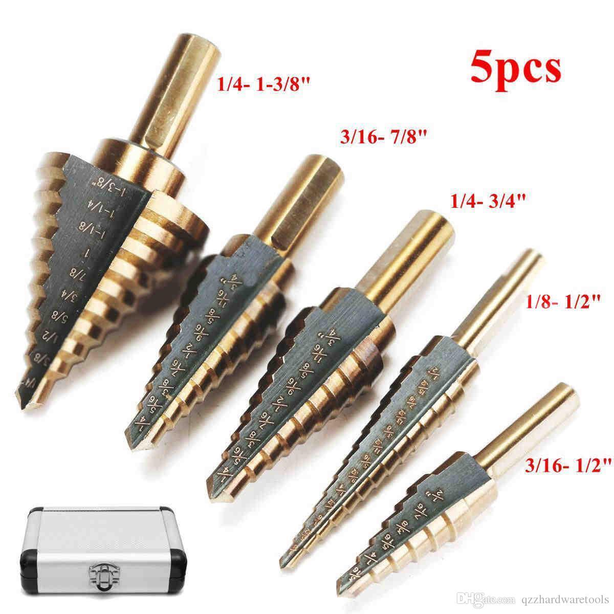 대형 코발트 스텝 드릴 HSS 스텝 티타늄 코어 드릴 여러 구멍 커터 드릴 비트 세트 도구와 함께 케이스