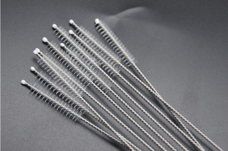 Limpieza cepillos de nylon paja Limpiadores de la alimentación con biberón de acero inoxidable Cepillo de limpieza Beber limpiadores de pipa 170 mm de largo DHL