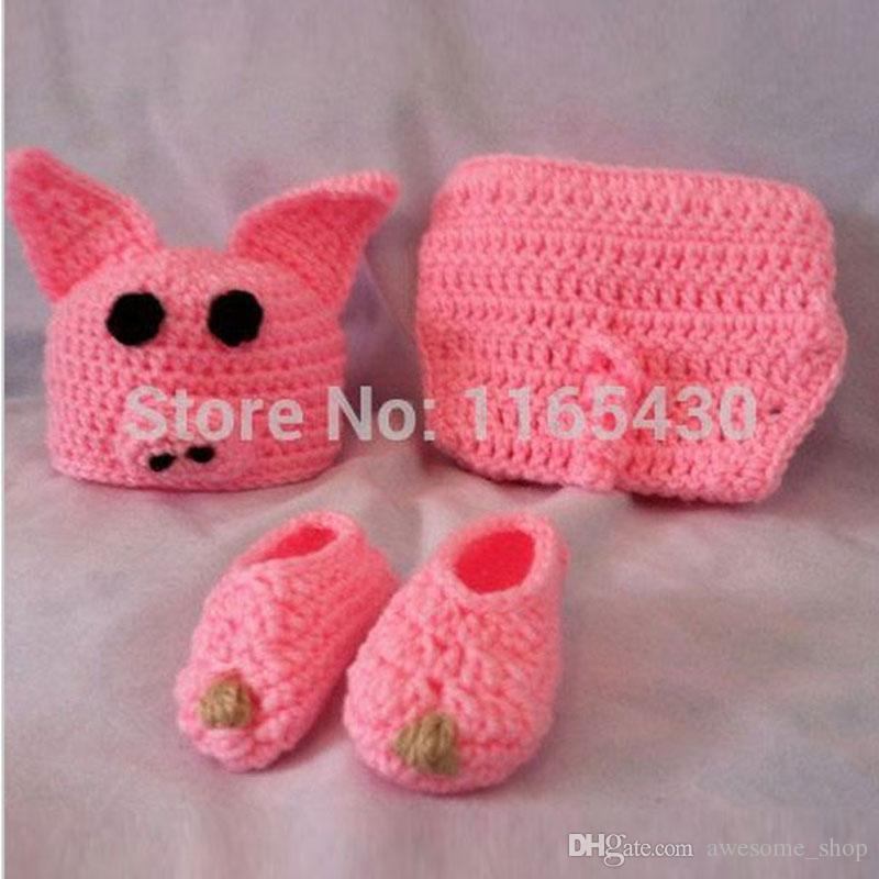 99d687c20e9df 2019 Novelty Adorable Newborn Pink Pig Outfit,Handmade Knit Crochet Baby  Boy Girl Animal Pig Beanie,Diaper Cover,Booties Set,Infant Photo Prop From  ...
