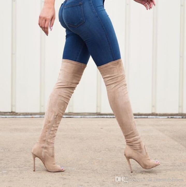 Offene spitze Oberschenkel Hohe booties Sommer Stiefel Schuhe Frauen Sexy Über Kniehohe Stiefel 2017 Mode Herbst Schuhe Bota Feminina