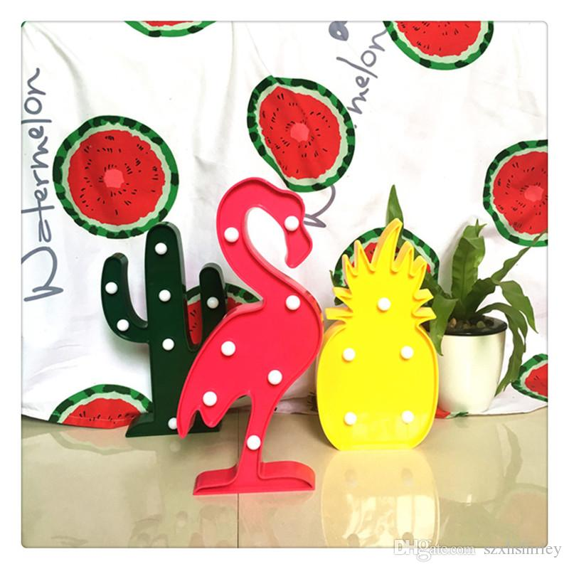 Party Supplies 3D LED Flamingo Lamp Pineapple Cactus Light Romantic Night Lamp Table Lamp Marquee LED Nightlight Home Christmas Decoration