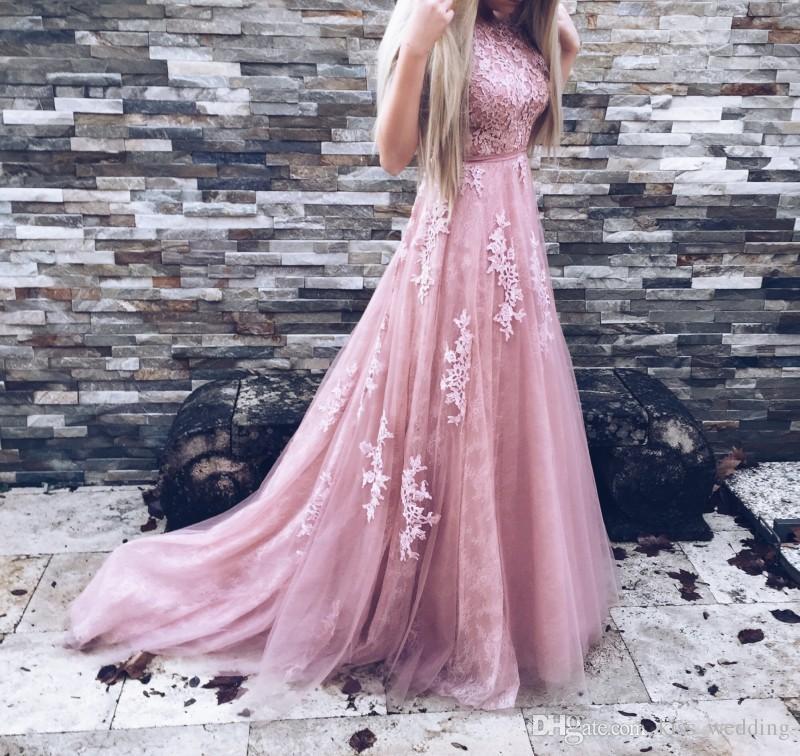 Compre Vestidos De Noche Hermosos De Color Rosa Claro Una Línea De ...