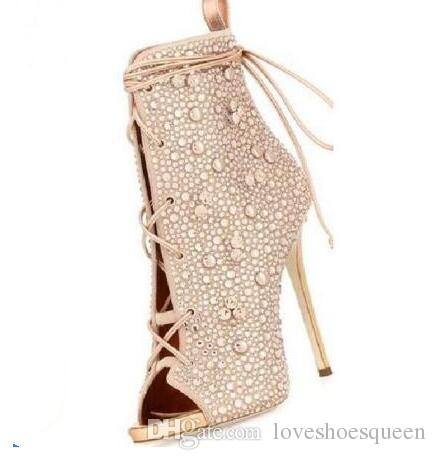 Couleurs champagne / argent printemps automne lacets peep toe femmes bottines super talons cristaux charmants bottes courtes 35-42