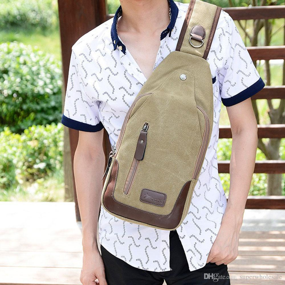 Men's Canvas Chest Pack Cross body Outdoor Travel Bag Rucksack Sling Backpack Casual Canvas Unbalance Backpack