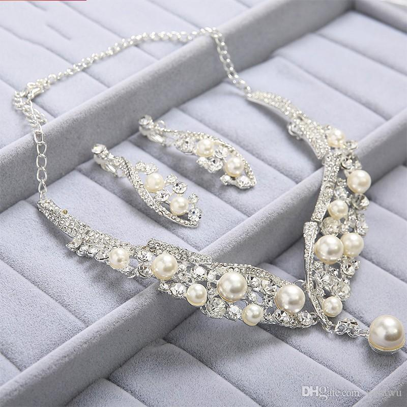 Pretty Charming Pearls Rhinestone Bridal Jewelry Set Handmade Unique Earrings+Necklace+Crown Wedding Party Bridal Accessories New Design