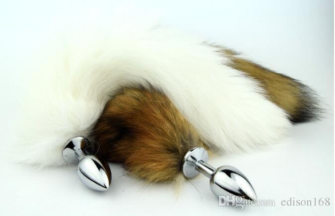 Neuester sexy Edelstahl Anal Stecker mit echten Fuchsschwanzperlen Anus Plug Erwachsener BDSM Produkt Sex Spielzeug Größe S M L