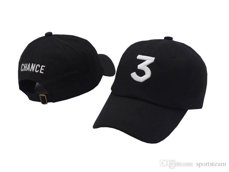Black CHANCE 3 Design Baseball Hat Fashion Strap Back Curved Cap Adjustable Cheap Men Casquette Golf Snapback Hip Hop Sun Hat Women PPM