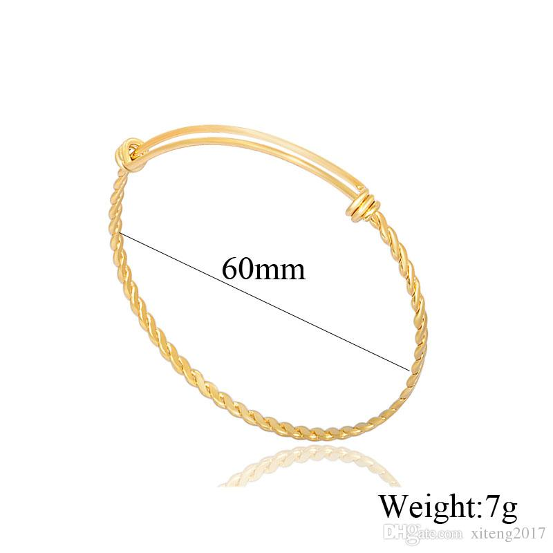 Wholesale rose gold & gold colors wire bracelets DIY titanium steel jewelry cable wire bangle adjustable expandable bracelet