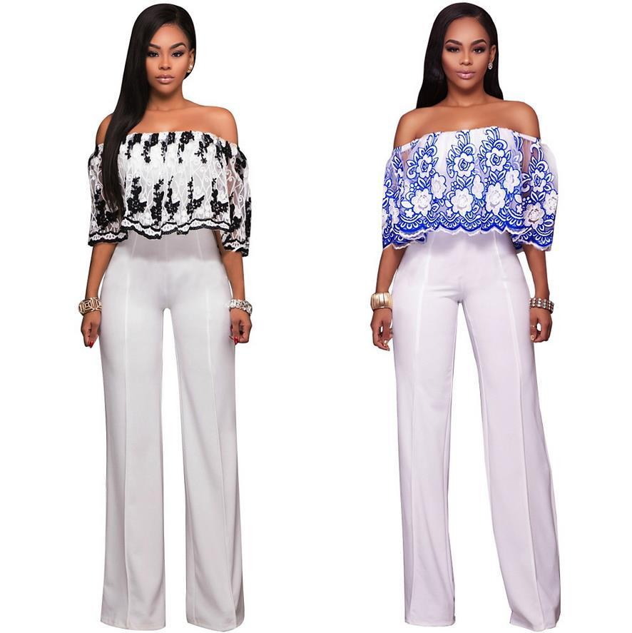 1a155157ef 2019 Wholesale Fashion Strapless Floral Pattern Loose Women Jumpsuit  Embroidery Flowers Top White Long Pants Ladies Romper G043 From Tuhua