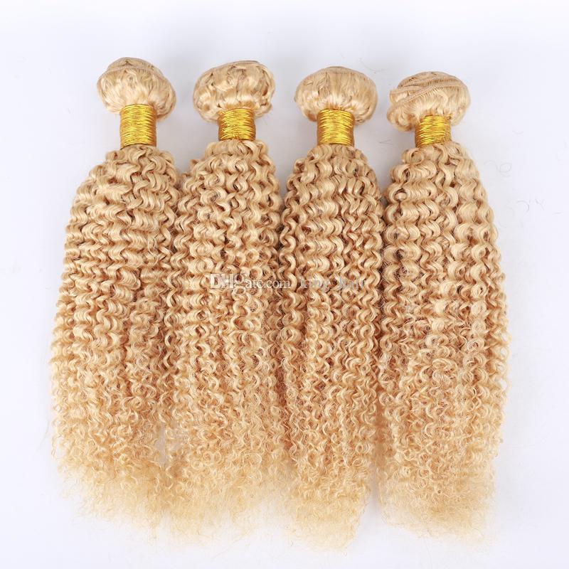 Pure color Malaio Kinky Curly Cabelo Humano Bundles Cor Pura # 613 Cabelo Loiro Tece Kinky Curly Hair Tece 4 Pçs / lote