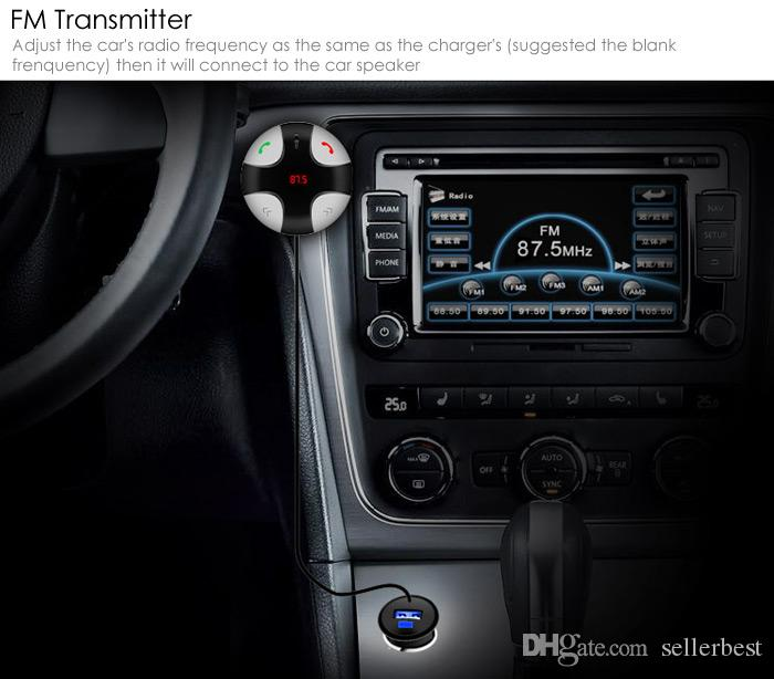 Car Bluetooth Charger 5V 2A USB Charging Output Hands-Free FM Transmitter Adjustable Angle Digital LED Display FM29B DC 12 - 24V