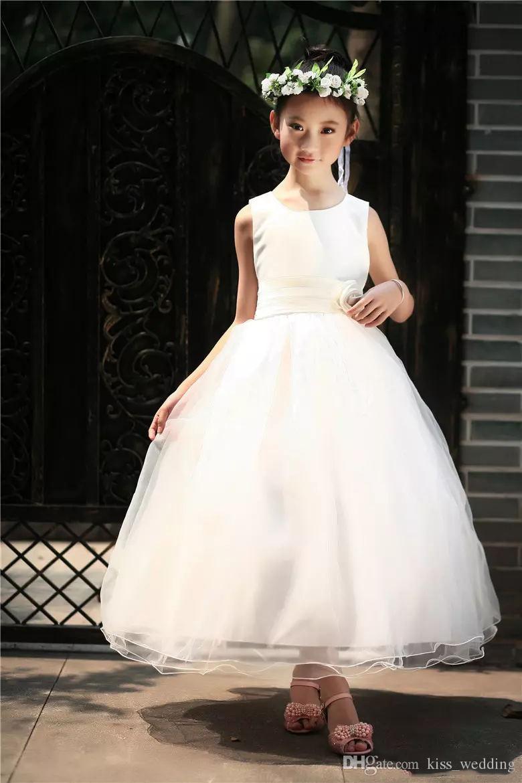 Vestidos de boda de marfil de los niños de la belleza blanca con la faja Puffy Vestido de los niños del bañador para la fiesta de graduación Bodas de la Navidad Vestido de la muchacha de flor
