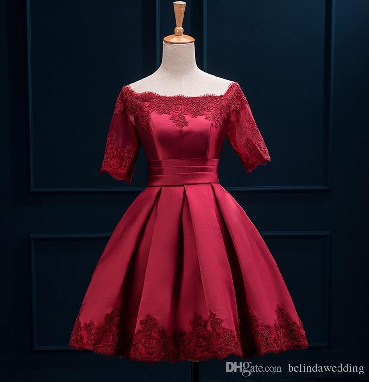 e7751a2796a2 Short Bridesmaid Dresses Off Shoulder Half Sleeves Lace Satin Cocktail  Wedding Party Dresses Elegant Knee Length Gowns Burgundy Turquoise Silver  Bridesmaid ...