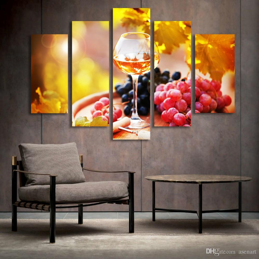 5 Panel Painting Glass Wine Fruit Painting Canvas Art Prints Wall Pictures  for Living Room Kitchen Dining Room Home Decoration Unframed. Discount Dining Room Canvas Wall Art   2018 Dining Room Canvas