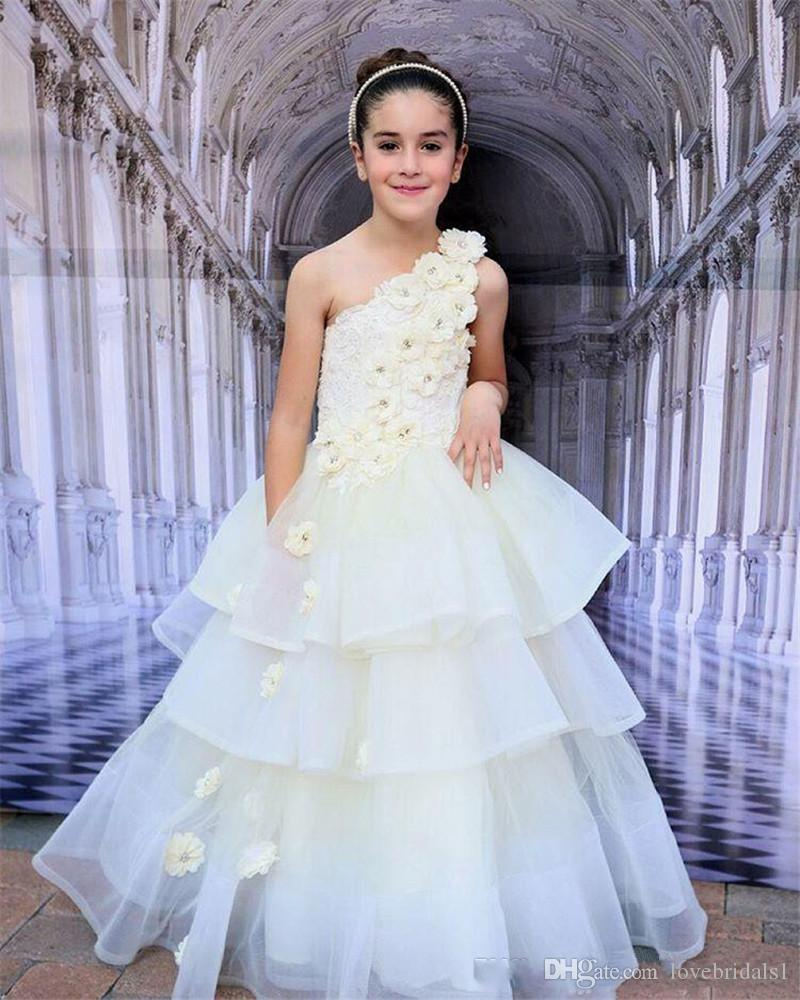 2019 One Shoulder Flower Girl Dresses tiered first Comunion Ball Gown with Handmade Flowers cute pageant dress