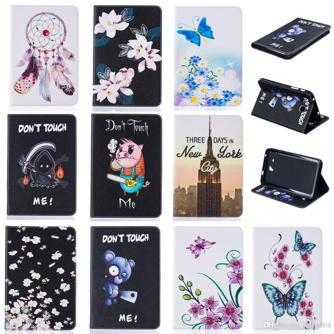 Tablet case For Samsung Galaxy Tab A 7.0 T280 T285 2016 Cover Wallet Stand Leather Case With Card Slots Painting Butterfly tower