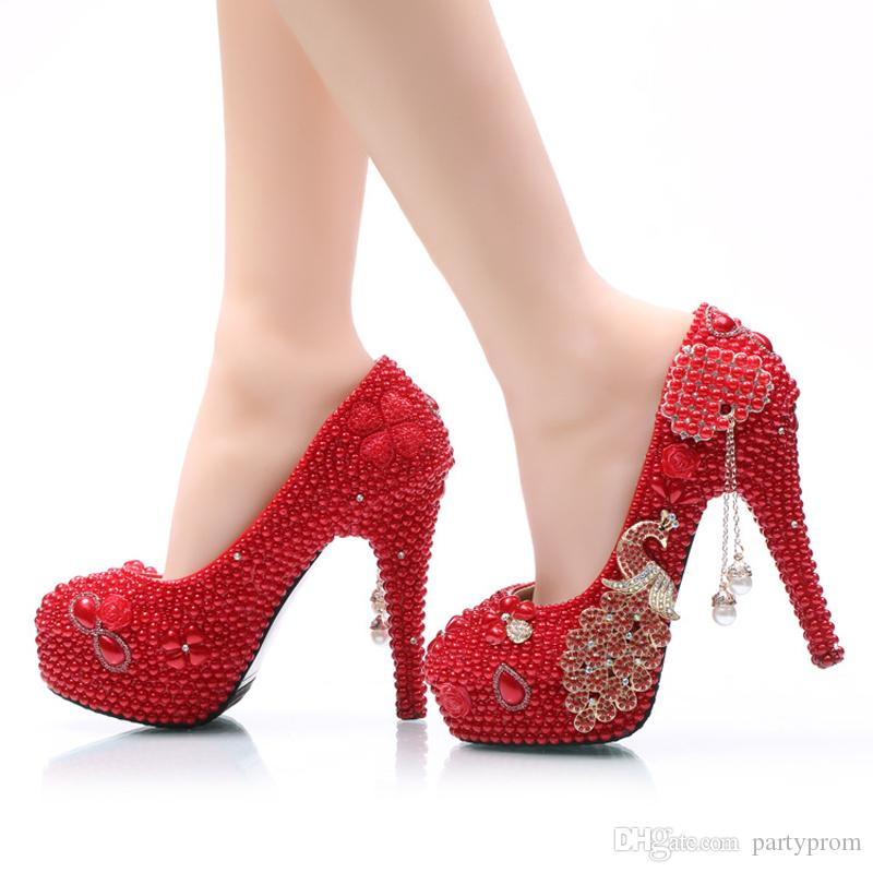 Big Size Wedding Shoes Phoenix And Red Pearl High Heel Prom Shoes ...