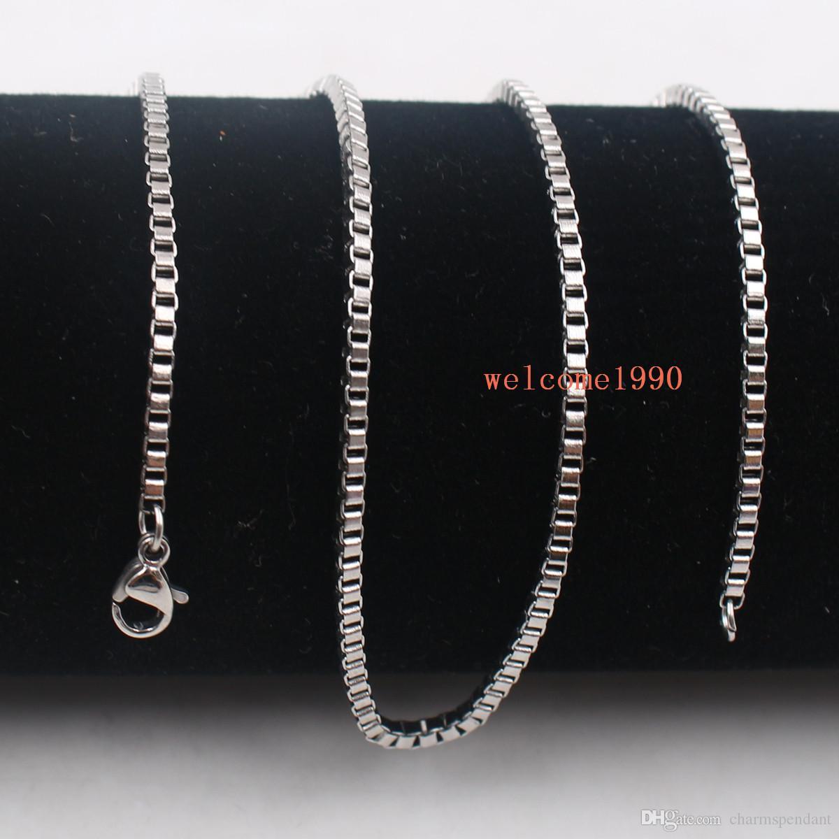 100 adetgrup Sıcak satış Takı Toptan Toplu Gümüş Paslanmaz Çelik Moda kutusu zincir kolye 2mm / 2.4mm geniş