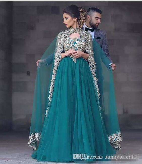 2017 Yeni Moda Stil Hunter Yeşil Fas Kaftan Arapça şifon Gelinlik Önlük Bollywood Maxi Hint Dantel Aplikler Boncuklu