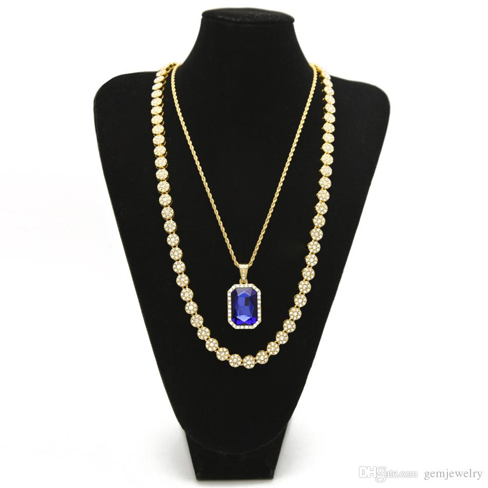 "Men's Hip hop Jewelry Set 30"" lced Out Rhinestone 1 Row Round Necklace Chain With Square Red Blue Crystal Pendant Necklace"