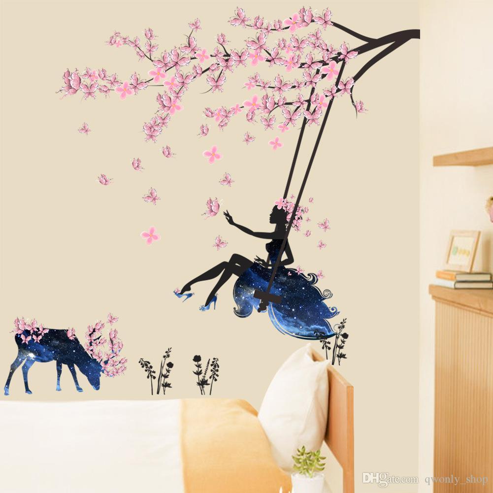 Romantik Çiçek Peri Kız Kelebek Duvar Çıkartmaları Çocuk Odaları Için Güzel Geyik Salıncak Çıkartması Ev Dekor Duvar Kağıdı Duvar Posteri
