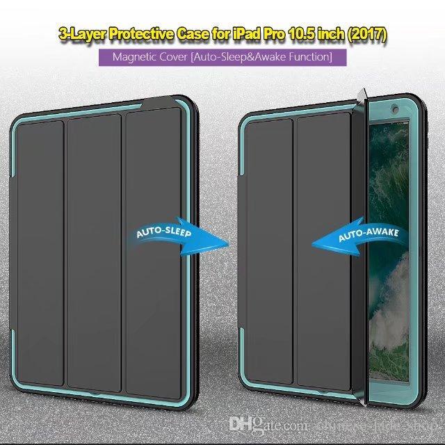 Heavy Duty Armor Rificate Прочный ударопрочный гибридный защитник Case Auto Sleep Warting Cover для iPad 2017 2018 Pro 10.5 10.2 2019 2020 10 шт. / Лот