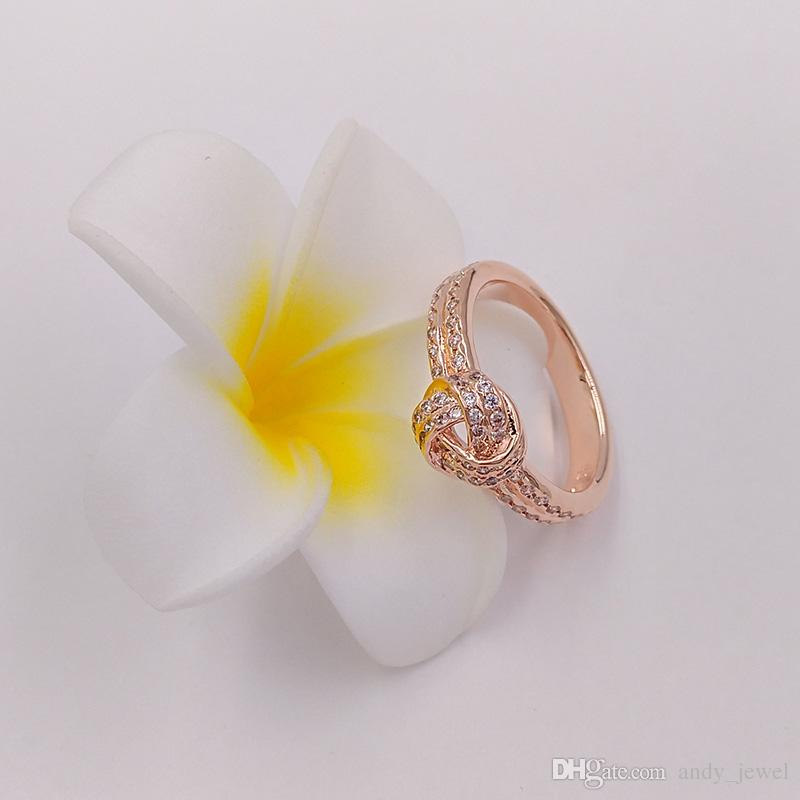 Rose Gold Plated & 925 Sterling Silver Ring Sparkling Love Knot European Pandora Style Jewelry Charm Ring Gift 180997CZ
