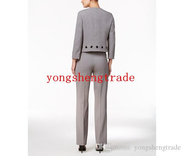 Design Taylor Grommet-Trim Jacket & Flare Dress Custom Made Gray Women Suit Perfect For Any Occasion