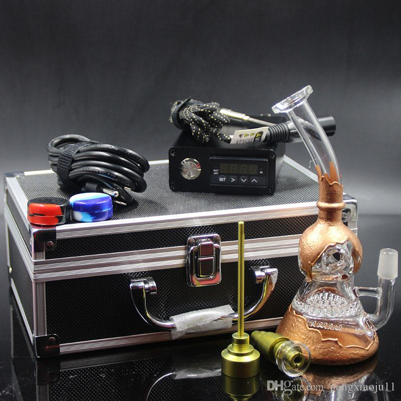 Newest Heady glass bongs water pipes bong Electric Digital Nail kit Heating coil flat 10mm glass rig