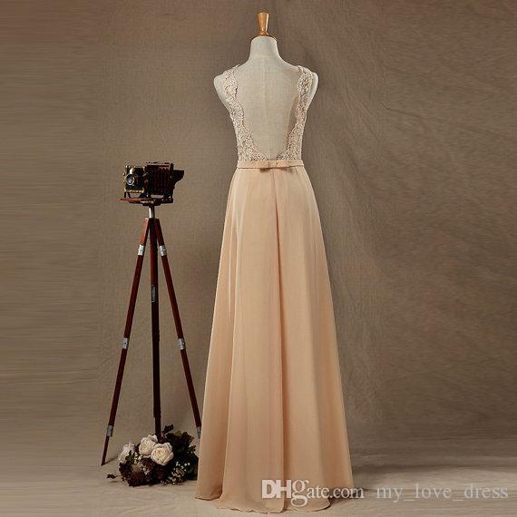 Des images réelles Champagne robe de demoiselle d'honneur en mousseline de soie étage longueur col rond sans manches dos ouvert une robe de bal de ligne