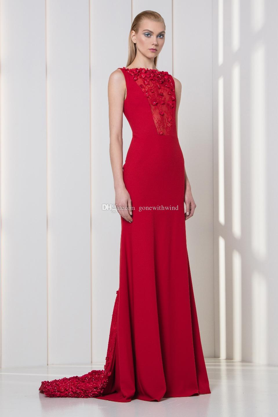 Red Evening Dresses 2018 Tony Ward Dresses Embellished With Pearls ...
