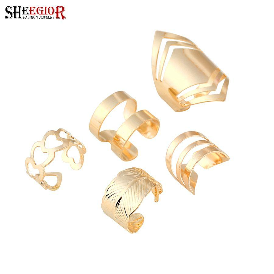 bd10105eabe8c 2019 Lovely Gold Color Rings For Women Fashion Jewelry Punk Hollow ...