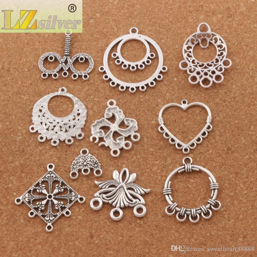 / coeur perles de charme perles en argent antique pendentifs boucles d'oreilles connecteurs pour artisanat de bijoux bricolage LM9