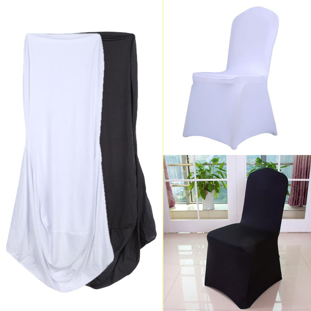1pcs White Black Chair Covers Universal Stretch Polyester Party Weddings Dining Kitchen Conference Banquet Chair Cover