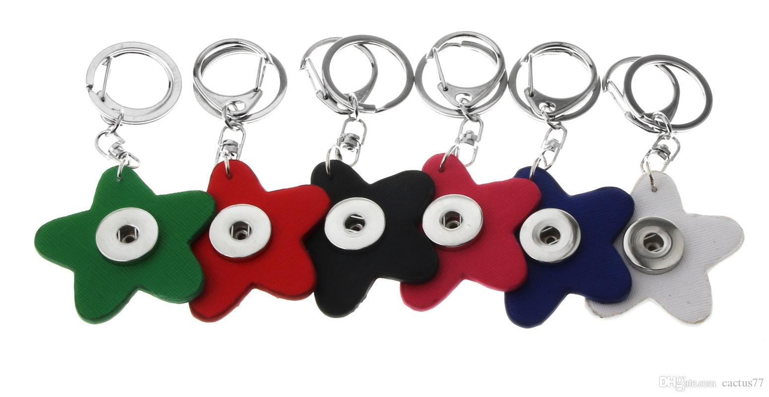 Wholesale NOOSA PU Leather Snap button Keychain Five point Star Snap keyring DIY 18mm Snap Button Key chain Key ring Accessories Jewelry