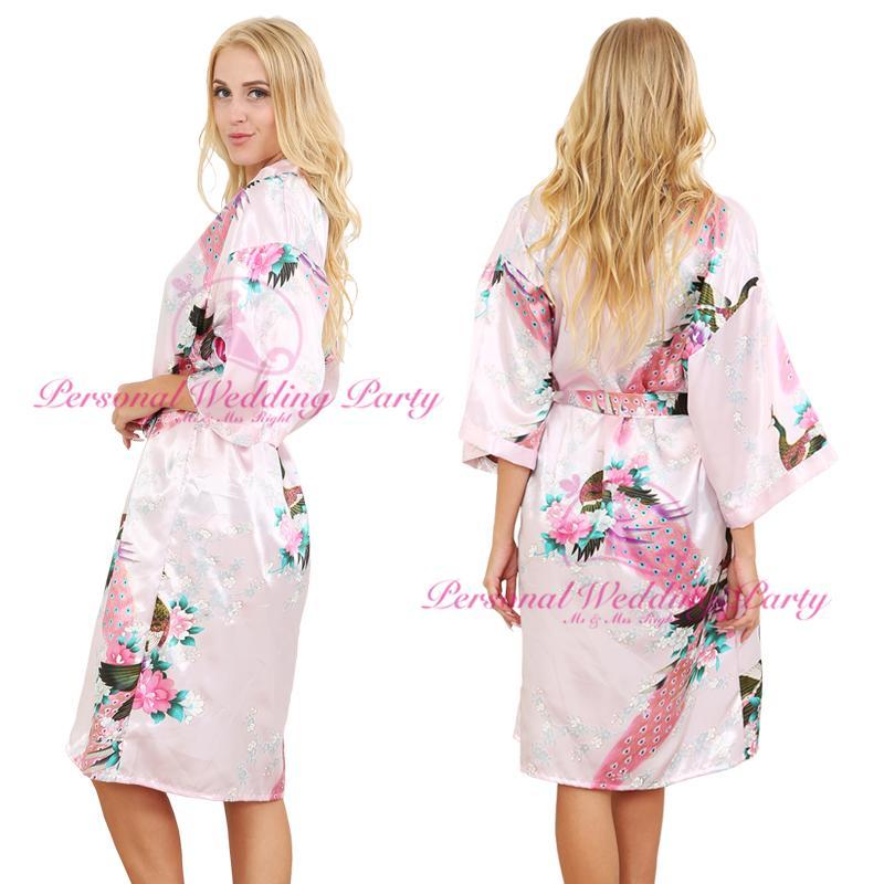 2018 Wholesale Silk Satin Wedding Bride Bridesmaid Robe Floral ...