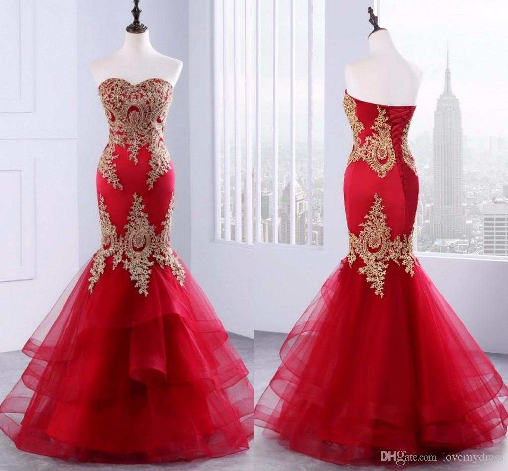 7f54580c10540 2018 Red Gold Mermaid Cheap Evening Gown Sweetheart Lace Applique Ruffles  Layers Tulle Long Prom Pageant Formal Dress For Girls Party