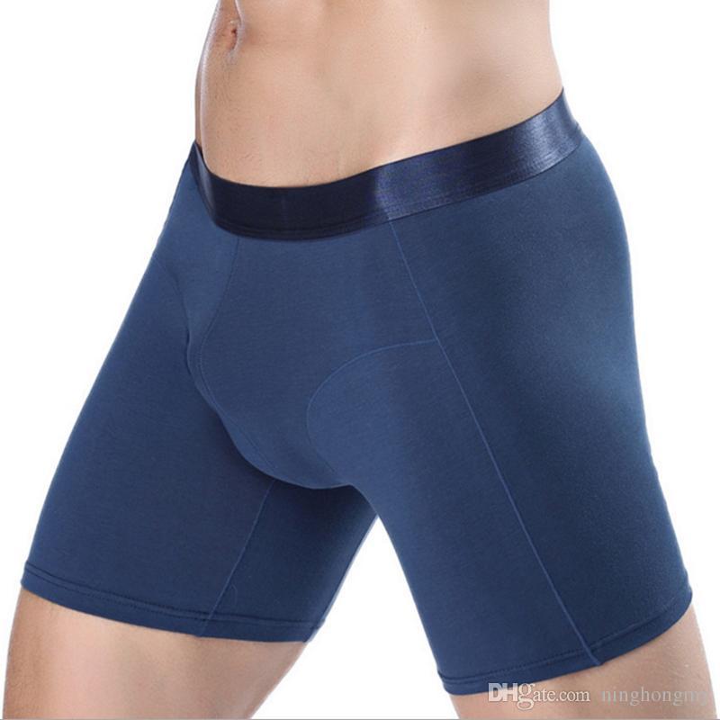 Длинные боксеры мужские узкие колена шорты сплошной цвет хлопок спорт нижнее белье мода streched леггинсы мужское нижнее белье sexy gay Penile мешок