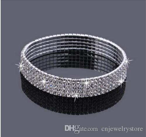5 rangs cinq rangs de strass scintillant cristal stretch cz cheville bracelet sexy ankiène brille accessoires de mariage de mariée pour femmes