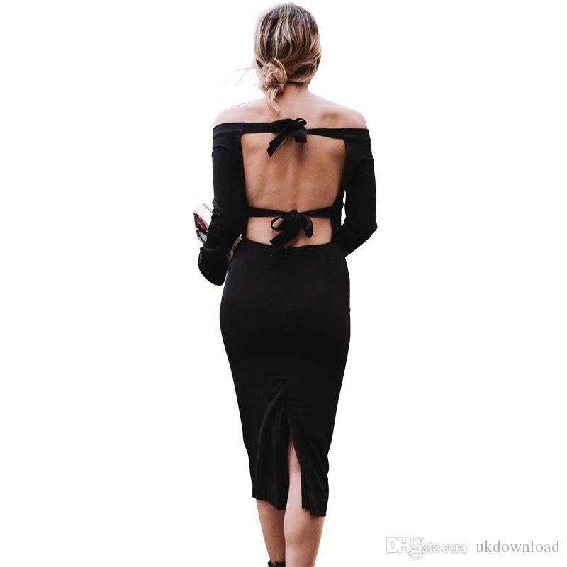 Großhandel Sexy Frau 2017 Langarm Aus Schulter Rückenfreies Kleid ...