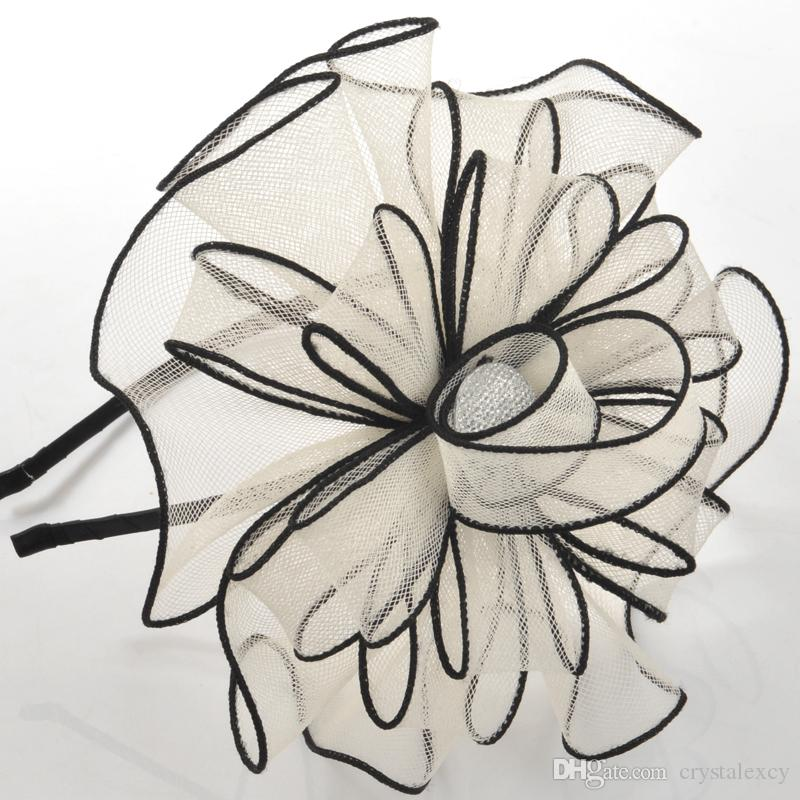 new trendy handmade lady bridal netting mesh headband hair clip accessory party proms ladies day gift ivory colour handmade headband