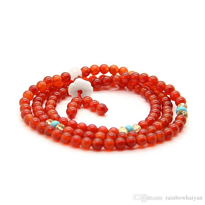 Commercio all'ingrosso di vendita del braccialetto del rosario calda buddista 108 borda i braccialetti di preghiera di pietra naturale religiosa meditazione tibetana 6mm e collana