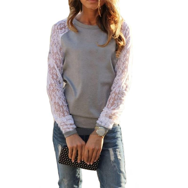 7df16051c151f0 2019 New Fashion Women Shirt Autumn Long Sleeve Patchwork Lace Sexy ...